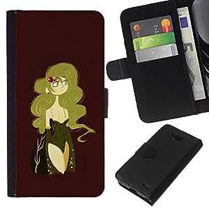EJOY---La carpeta del tirón la caja de cuero de alta calidad de la PU Caso protector / LG OPTIMUS L90 / --Mujer atractiva Castaño Rubio Dorado