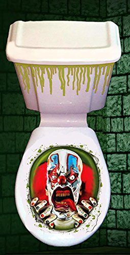 Christmas Shop Halloween Horror Toilet Decoration Cover (Scary Clown) -