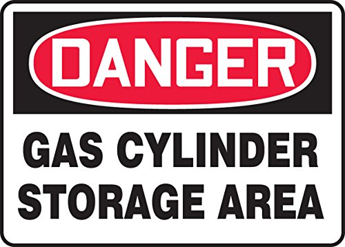 Accuform Signs MCPG005VS Adhesive Vinyl Safety Sign, Legend DANGER GAS CYLINDER STORAGE AREA, 7
