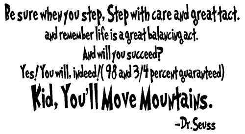 Byyoursidedecal Be sure when you step,step with care and great tact...kid,you'll move mountains.Dr.seuss Vinyl Wall Decal,Art Quotes Inspirational Sayings 12