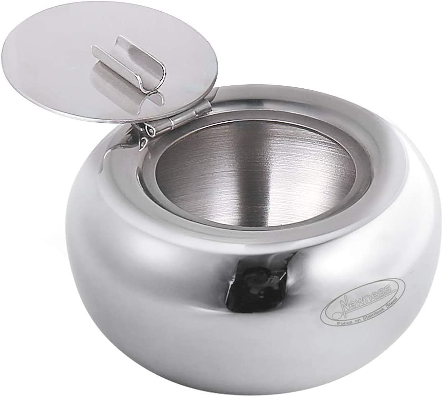 Ashtray, Newness Stainless Steel Modern Tabletop Ashtray with Lid, Cigarette Ashtray for Indoor or Outdoor Use, Ash Holder for Smokers, Desktop Smoking Ash Tray for Home office Decoration
