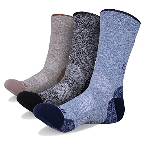 YUEDGE 3 Pairs Men's Wicking Antimicrobial Outdoor Multi Performance Hiking Cushion Crew Socks (Blue/Black/Brown)