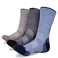 YUEDGE 3 Pairs Men's Wicking Antimicrobial Outdoor Multi Performance Hiking Cushion Crew Socks(Blue/Black/Brown)