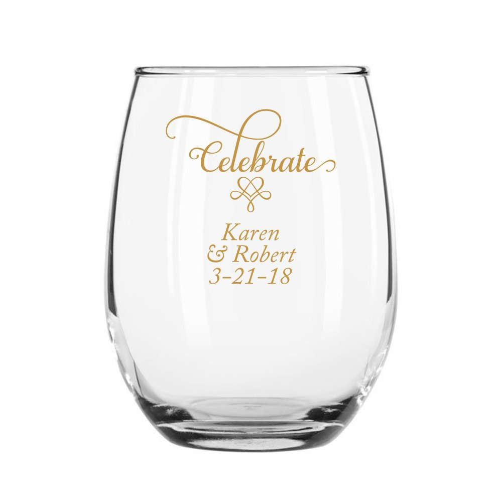 72 Pack Personalized Color Printed 15 Ounce Stemless Wine Glass - Celebrate - Gold