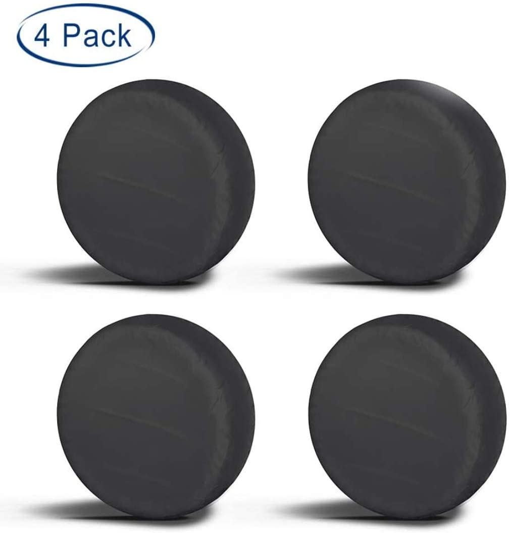"""Aebitsry Tire Covers for RV Wheel, (4 Pack) Motorhome Wheel Covers Waterproof Oxford Sun UV Tires Protector for Trailer, Camper,Universal Fits 24"""" to 32"""" Car Tire Diameter (Black, 27-29)"""