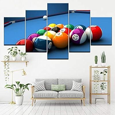 FJKYF 100×55cm Pintura de Lienzo Mesa de Billar Deporte 5 Piezas Arte de Pared Pintura Fondos de Pantalla modulares Impresión de póster para Sala de Estar Decoración del hogar Cuadro: Amazon.es: Hogar