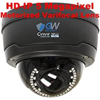 GW Security 5MP Sony IMX326 Exmor R Starvis Technology 4X Optical Motorized Zoom Outdoor Indoor PoE 1920P Back-illuminated Dome H.265 IP Camera 130FT IR Distance (Grey)