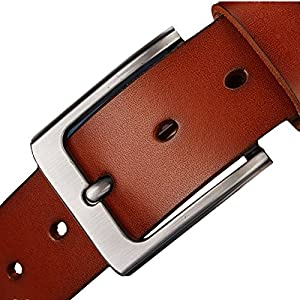 JingHao Belts for Men Genuine Leather Casual Belt for Dress Jeans Regular Big and Tall Black Brown Size 28″-63″ …