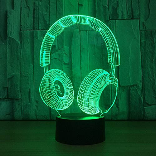 Wdj New Creative 3D Optical Illusion lamp, Headset Stereo Night Light Desk Table Lamps LED Bluetooth Speaker Base 7colors Change USB Cable Kids Amazing Gifts Decoration,001