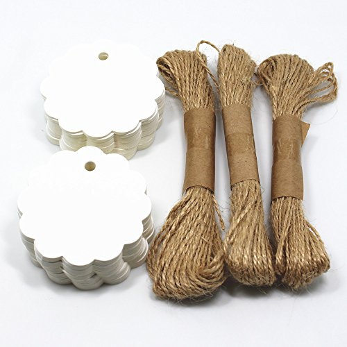 Price Tags White Kraft Paper Tag Scalloped Wedding Lolly Wedding Party Favor Round Gift Labels Dia 2.36 Inch 100 Pieces with 98 Feet Jute Twines