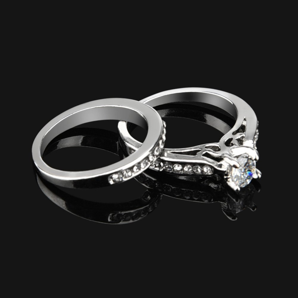 Yiwanjia Simple Fashion Ring Couple Two-Piece Zircon Ring Engagement Wedding Anniversary Party Ring