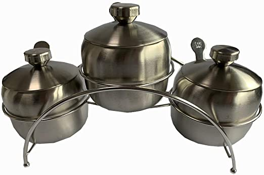 3 pieces Blue Pearl Condiment Seasoning Pots Set with Spice Rack Large Capacity