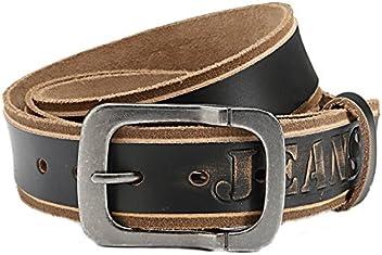 Eg-Fashion Herren Jeans-Gürtel Büffelleder Gürtel mit runder Used-look Schließe 3,8 cm Breite- Mit Schrift Jeans