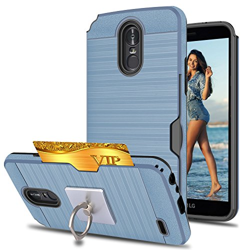 LG Stylo 3 /Stylus 3/Stylo 3 Plus Case With Phone Stand,Ymhxcy [Credit Card Slots Holder][Metal Brushed Texture] Hybrid Dual Layer Full-Body Shockproof Protective Cover Shell LG LS777-LCK Metal ()