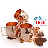 Set of 4, Moscow Mule Mug - 100% Pure Solid Copper, 16 Oz Unlined, No Nickel Interior, Handcrafted Hammered Design with Free 2 Copper Vodka Shot Glasses