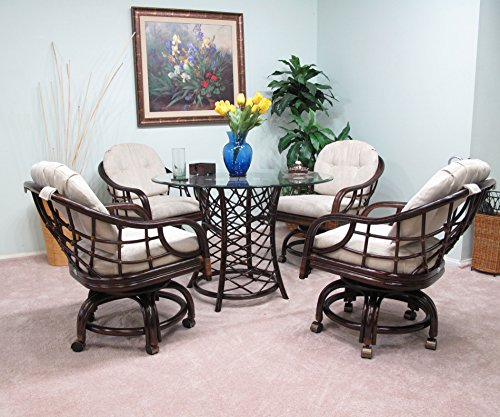 Made in USA Rattan Dining Caster Chair Table Gaming Furniture Newton 5PC Set Cappuccino Finish by urbandesignfurnishings.com