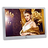 Any-door Digital Picture Frame 12 inch HD Video Player with Music Calender 1080p with Remote Control Picture Display WIFI(Silver)