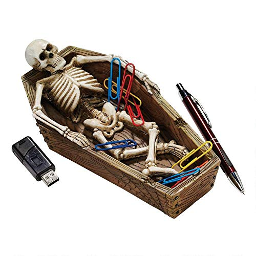 Design Toscano Lounging Skeleton Casket Catch-all Sculpture