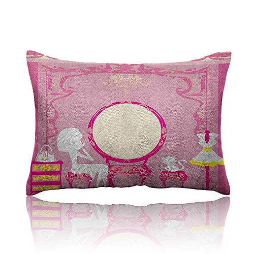 Anyangeight Girls Mini Pillowcase Lady Sitting in Front of French Cosmetic Make-Up Mirror Furniture Dressy Design Fun Pillowcase 18