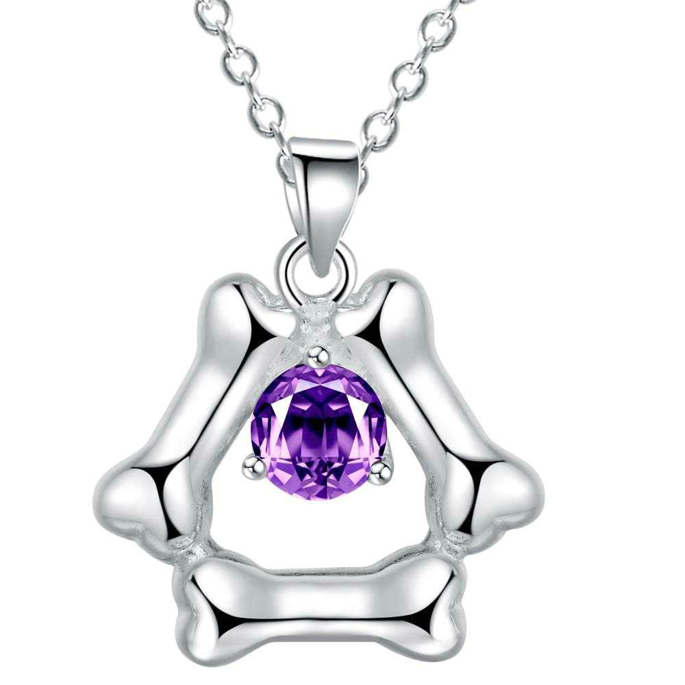 Onefeart Sterling Silver Pendant Necklace Women Girls Purple Crystal Fashion Simple Pendant 45CMx24X20MM