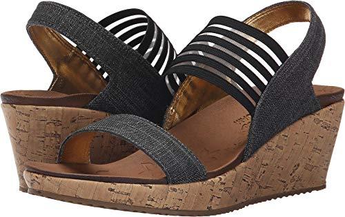 (Skechers Beverlee Smitten Kitten Womens Wedge Sandals Black 9.5)
