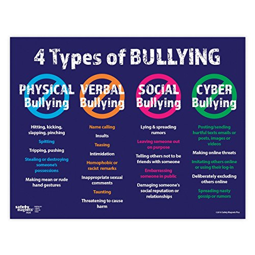Anti Bullying Poster - The 4 Types: Physical, Verbal, Social and Cyber - 17 x 22 inches - Laminated ...
