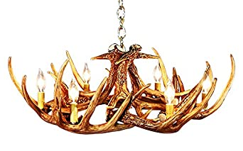 Rustic White Tail 9 Antler Chandelier With 6 Lights