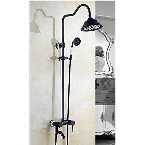 chic SAEKJJ-Continental Lift Black Antique Copper Bronze Shower Faucets Bathroom faucet