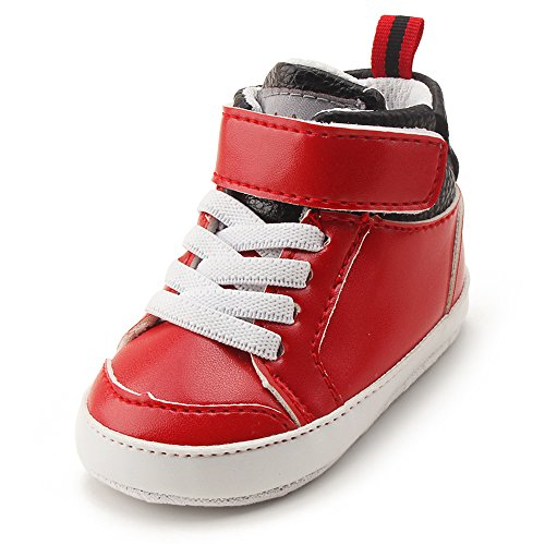Baby Shoe Infant Red Sneakers (Delebao Infant Toddler Baby Lace Up Soft Sole High-Top Suede Warm Sneakers Snow Boots (12-18 Months, Red 02))