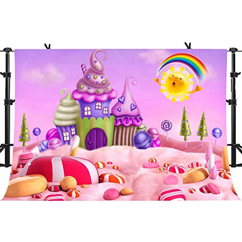 PHMOJEN Cartoon Candyland Background Fairy Tale Lollipops Rainbow Photography Backdrop Kids Theme Birthday Party Decoration Background Room Wallpaper Studio Props 10x7ft -
