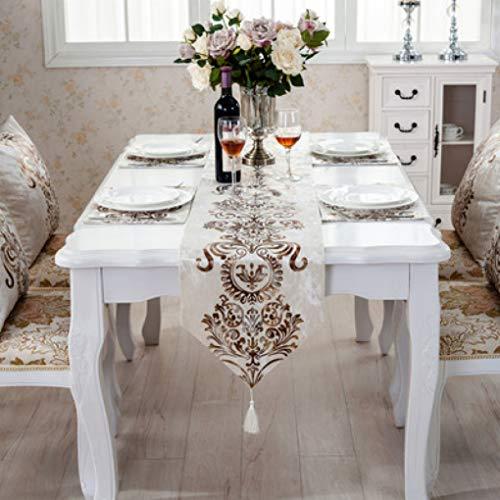 (SYHK Coffee Gray Table Cloth Runner for Wedding Decoration Flocked Damasks Raised Flower Blossom)