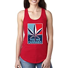 Yes We Cannabis   Poster Parody   Womens Weed Jersey Racerback Tank Top