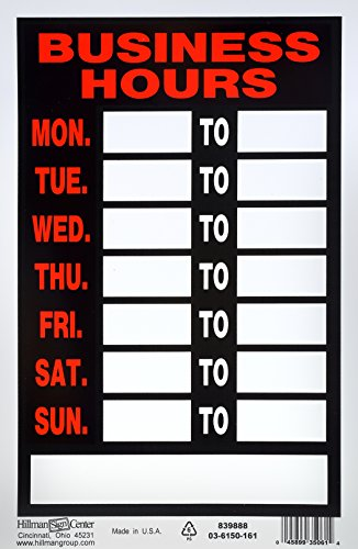 Operation Sign - Hillman 839888 Business Hours Sign with Space for Fill in, Black, Red and White Plastic, 8x12 Inches 1-Sign