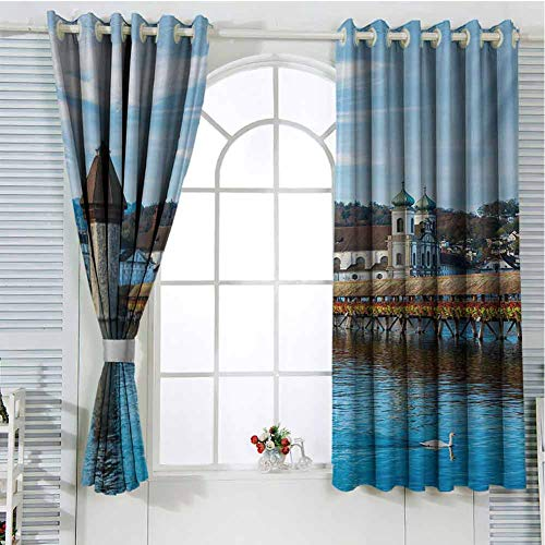 Landscape Patio Door Curtains for Bedroom Panoramic View of Oak Chapel Bridge Northern Lands Lake European Aged City Print Thermal Insulated Noise Reducing W107 x L107 Inch Blue Brown (Oak External Doors Patio)