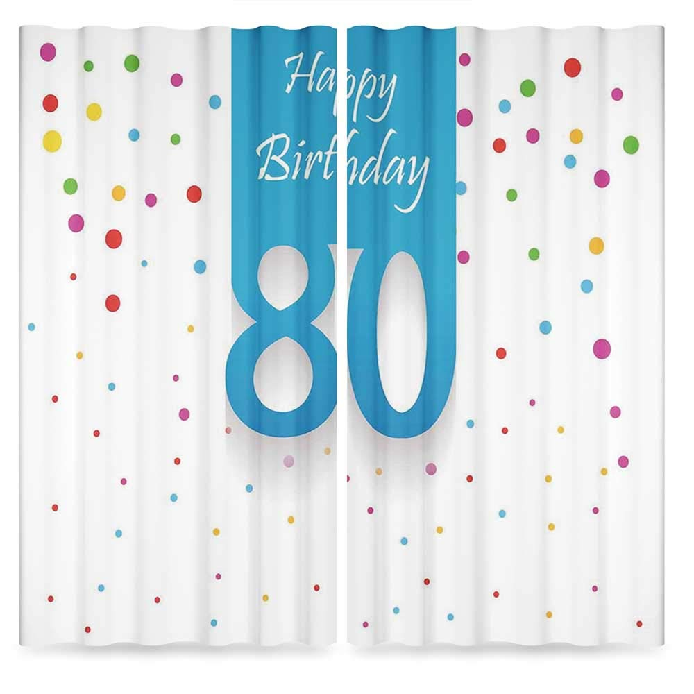 80th Birthday Decorations Bedroom Blackout Curtains,Abstract Sky Blue Eighty Image on Colorful Polka Dots Art Print,Living Room Bedroom Décor, 2 Panel Set, 28W X 39L Inches