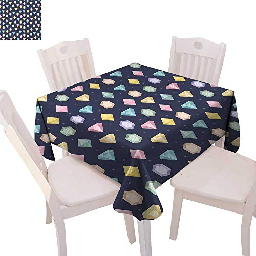 cobeDecor Colorful Dinner Picnic Table Cloth Graphic Gemstones with Different Shapes Trillion Drop and Marquise Cut Pattern Waterproof Table Cover for Kitchen 50