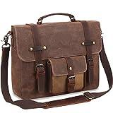 SOAEON Mens Messenger Bag, Laptop Bag 15.6 inch,Waterproof Waxed Canvas Briefcase, Large Vintage Computer Bag Fit Laptop for Business School Travel