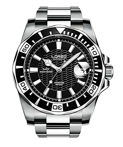 - LOREO Mens GMT Silver Stainless Steel Sapphire Glass Black Rotating Bezel Mens Date Automatic Watches