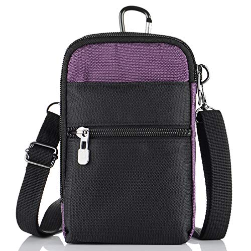 Pouch Utility Waist Pack (liangdongshop 3 Way Water Resistant Utility Gadget Pouch RFID Blocking Passport Phone Waist Pack with Locking Carabiner(Purple))