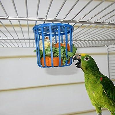 Hukai Bird Parrot Feeder Cage Fruit Vegetable Holder Cage Hanging Basket Container Pet