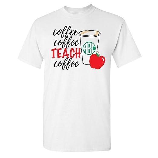 fec1dc1f7ca8 United Monograms Monogrammed 'Coffee & Teach' T-Shirt, Teacher Shirt ...