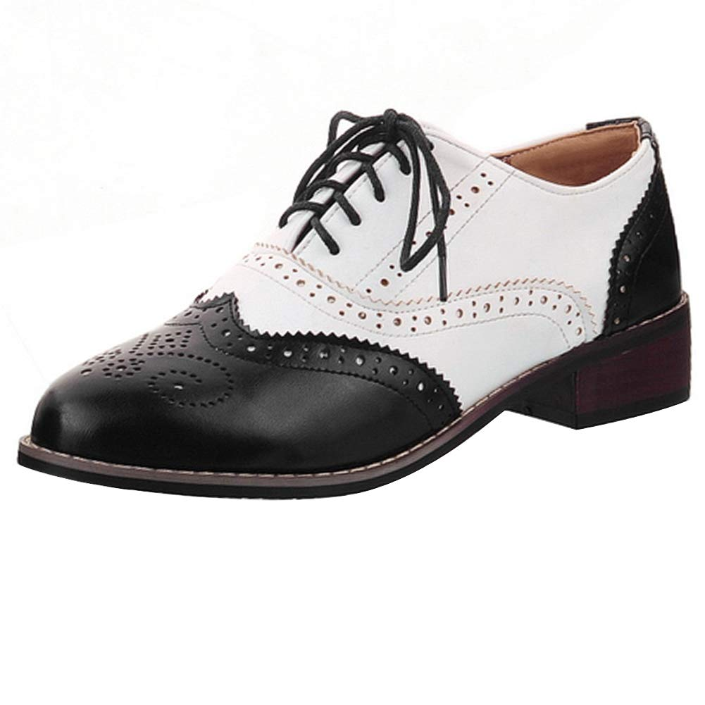 Cicime Womens Oxfords Lace-up Wingtip Black Oxfords Perforated Flat Brown Oxford Shoes Brogues