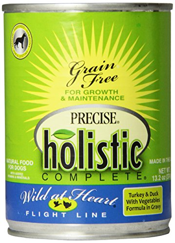 Precise 12-Pack Holistic Complete Grain Free Turkey/Duck Food for Pets, 13.2-Ounce