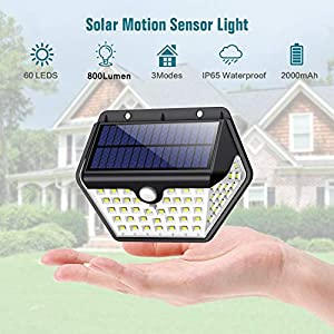 Solar Lights Outdoor, [2019 Newest Model 60 LED – 800 Lumens] iPosible Motion Sensor Security Lights 270º Wall Lights…