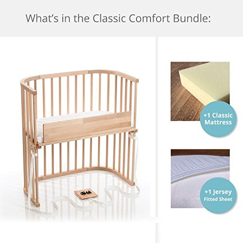 Cheapest Price! babybay Bedside Sleeper Classic Comfort Bundle in Trendsetter (Light Gloss)