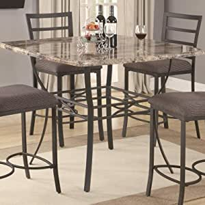 Ashford Counter Height Pub Table With Faux Marble Top And