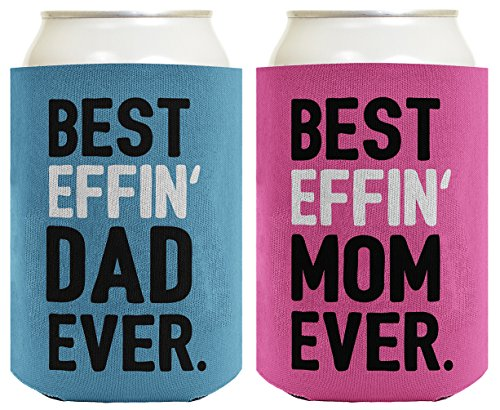 Mom Dad Gifts Best Effin Mom and Dad Ever Funny Mom Dad Announcement Mom Dad Gift Set 2 Pack Can Coolie Drink Coolers Coolies Blue & Pink