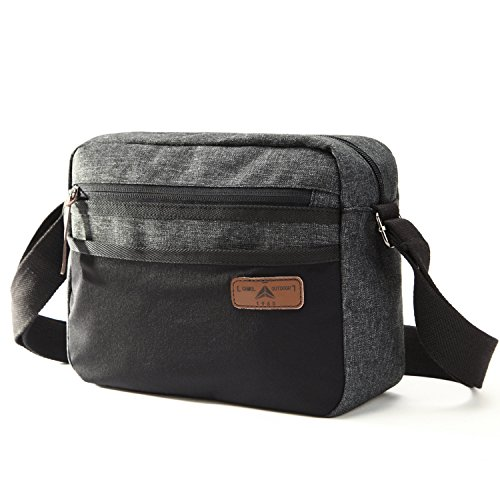 - Camel Crossbody Bag for Women Multi-Pocket Purse Travel Canvas Shoulder Bag (Black)