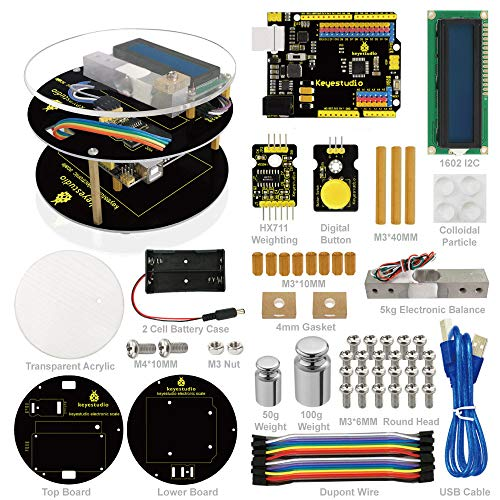 KEYESTUDIO DIY Scale Kit for Arduino Projects, with Control Board for Arduino UNO r3 and LCD Display, Practical Stem Educational - Video Cable Breakout