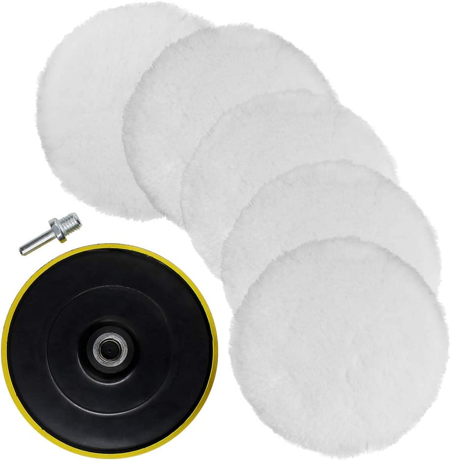 TONGTU 7 Pcs 6 Inch Polishing Buffer Wool and Wheel Polishing Pad Woolen Polishing Waxing Pads Kits with M14 Drill Adapter